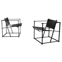 Pair of Steel and Black Leather FM62 Chairs by Radboud Van Beekum for Pastoe