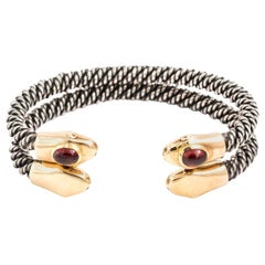 Pair of Steel and Gold Serpent Bangles