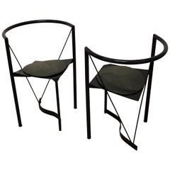 Pair of Steel and Leather Chairs