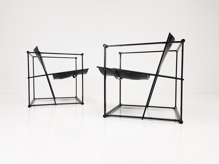 Pair of Steel and Leather FM62 Chairs by Radboud Van Beekum for Pastoe, 1980s For Sale 4