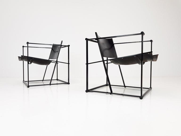 Pair of Steel and Leather FM62 Chairs by Radboud Van Beekum for Pastoe, 1980s For Sale 5