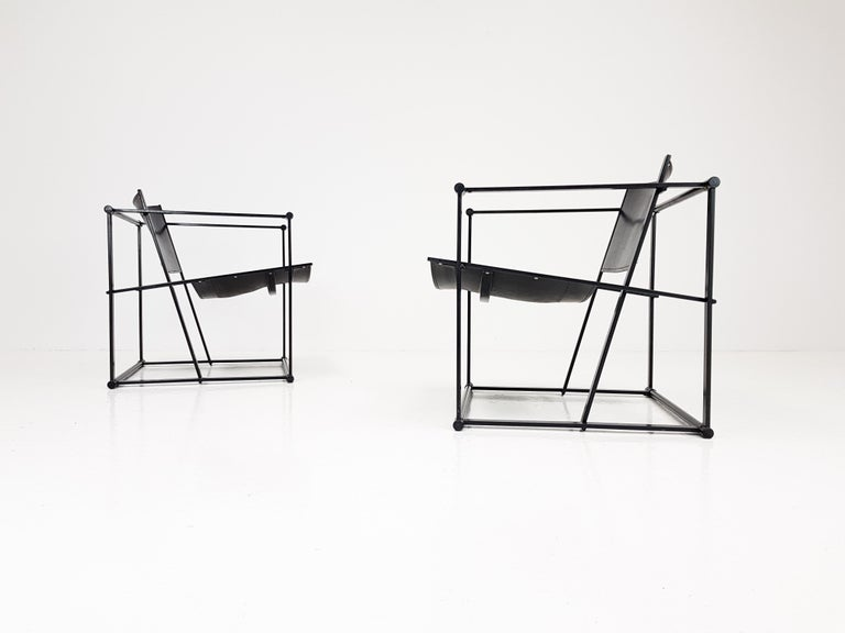 Post-Modern Pair of Steel and Leather FM62 Chairs by Radboud Van Beekum for Pastoe, 1980s For Sale