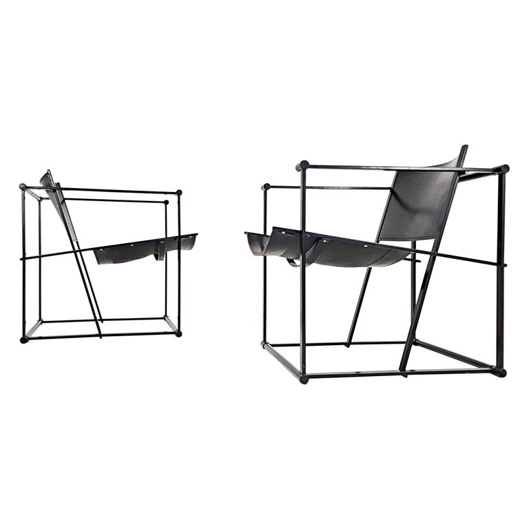 Pair of Steel and Leather FM62 Chairs by Radboud Van Beekum for Pastoe, 1980s For Sale