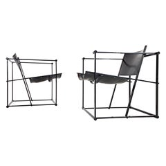 Pair of Steel and Leather FM62 Chairs by Radboud Van Beekum for Pastoe, 1980s