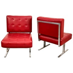 Pair of Steel and Red Faux Leather Armchairs Skay after Hausmann De Sede, 1950s
