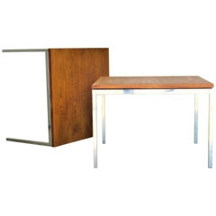 Pair of Steel and Walnut Tables by Florence Knoll