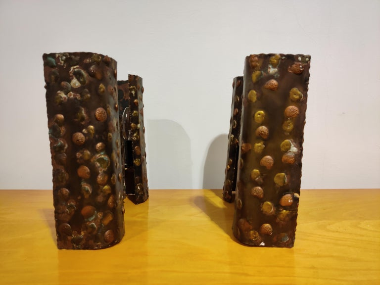 Pair of Steel Brutalist Wall Lamps, 1960s For Sale 6
