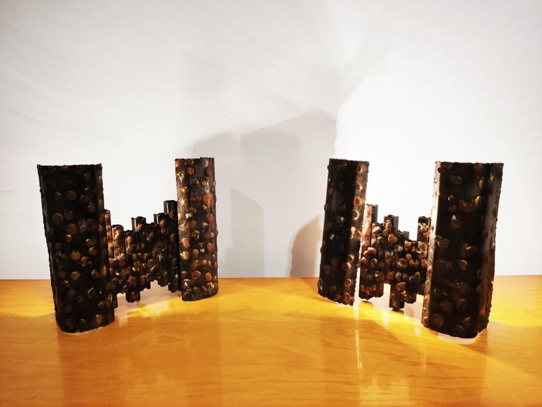 Pair of Steel Brutalist Wall Lamps, 1960s In Good Condition For Sale In Ottenburg, BE