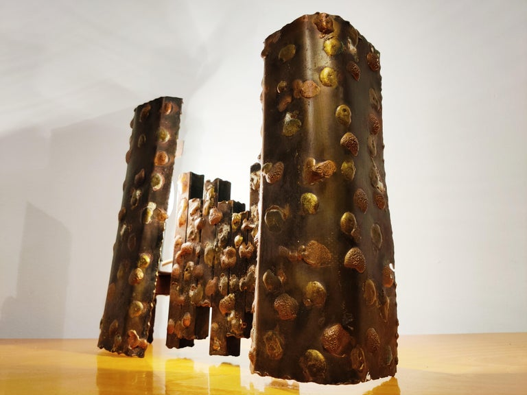 Pair of Steel Brutalist Wall Lamps, 1960s For Sale 1