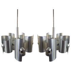 Pair of Steel Ceiling Lights