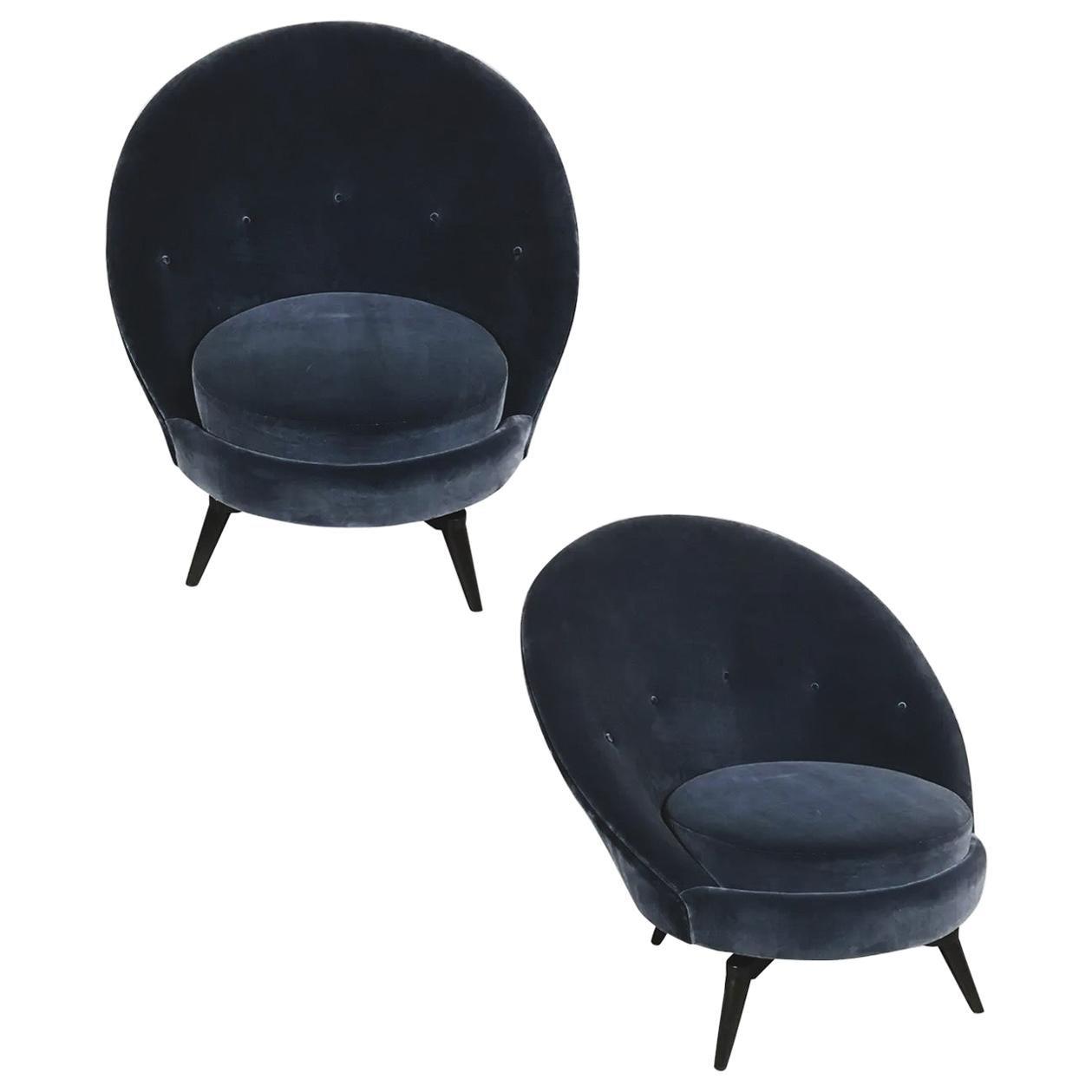Pair of Steel Gray Velvet Swivel Chairs