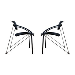 Pair of Steel Italian Memphis Architectural Chairs Attributed to Mario Botta