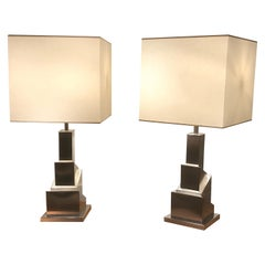 Pair of Steel Lamps by Romeo Rega