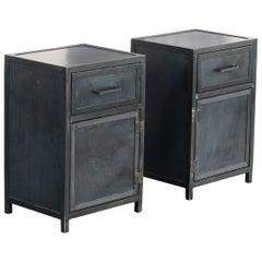 Pair of Steel Nightstand Cabinets Custom Made by Rehab Vintage Interiors