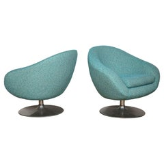 Pair of Swivel Lounge Tulip Chairs by Gastone Rinaldi in Blue Tweed, Italy, 1970