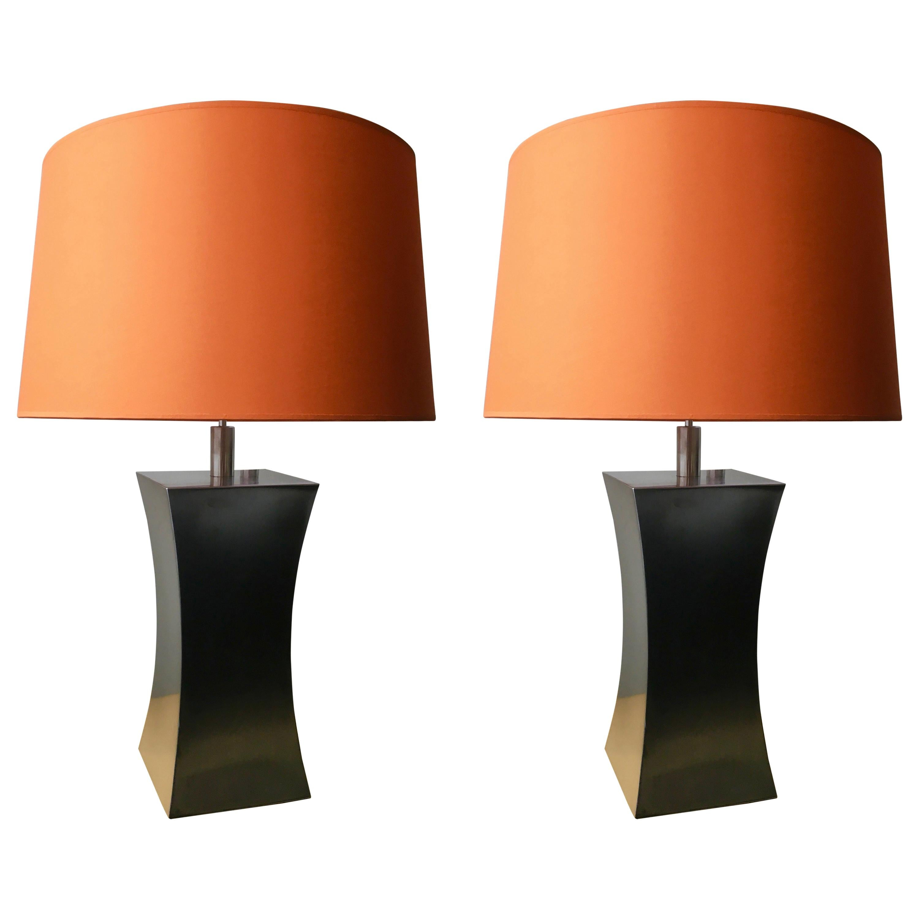 Pair of Steel Table Lamps with Orange Lampshades by Françoise Sée, France, 1970