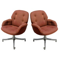 Pair of Warren Platner Steelcase Leather & Fabric Arm Chairs