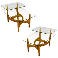Pair of Step End Tables by C. E. Waltman for Tonk Mfg.