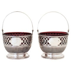 Pair of Sterling Baskets with Amethyst Glass