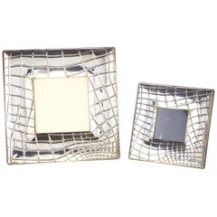 Pair of Sterling Crocodile Motif Picture Frames