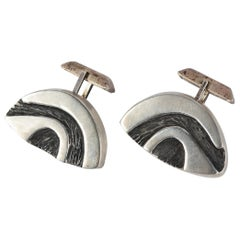Pair of Sterling Modernist Cufflinks