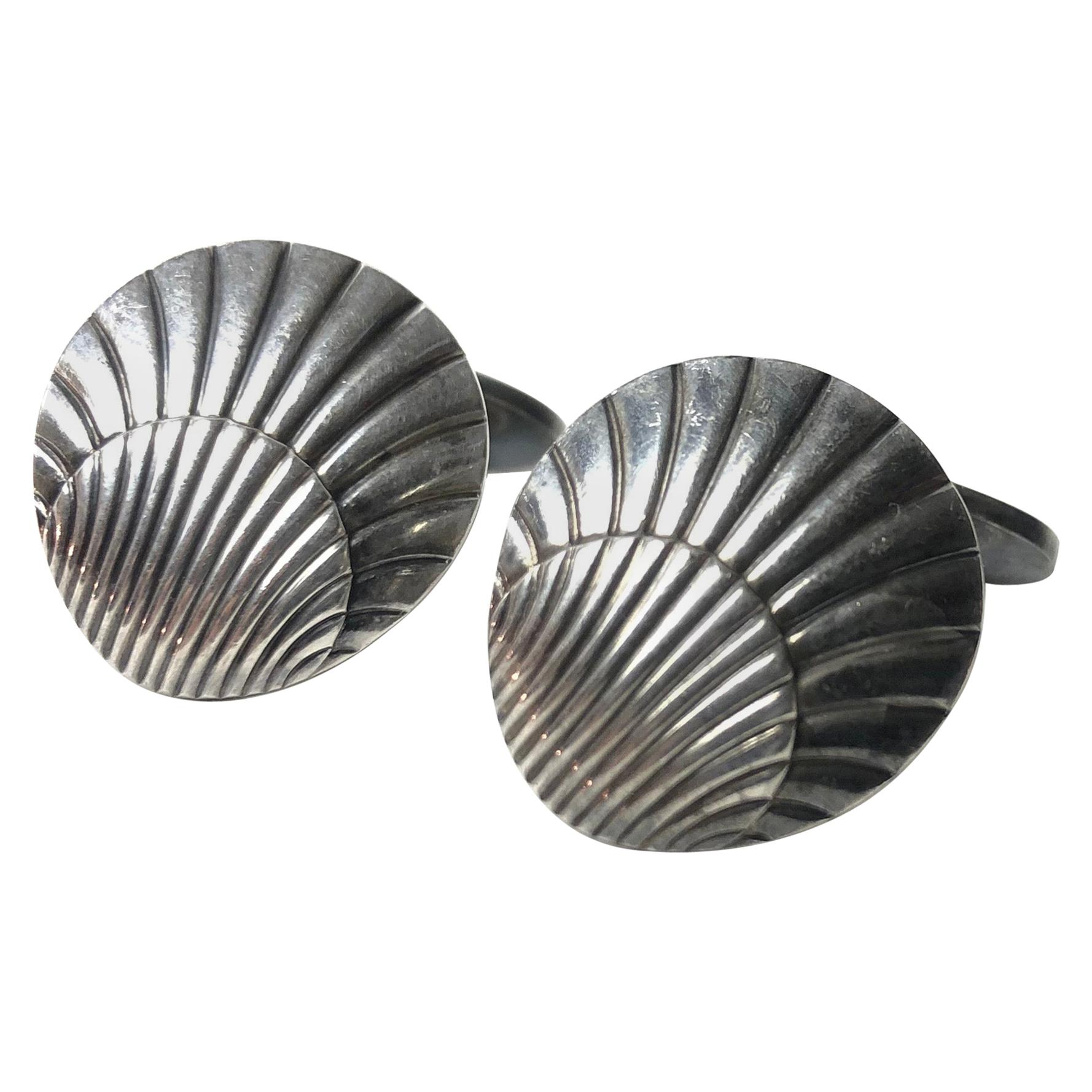 Pair of Sterling Shell Cufflinks by Georg Jensen