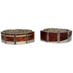 Pair of Sterling Silver and Amber Bracelets