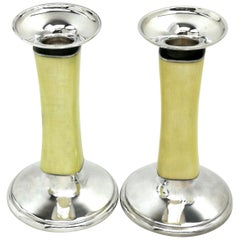 Pair of Sterling Silver and Enamel Candlesticks Zurich / Switzerland Meister