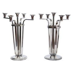 Pair of Sterling Silver Art Deco Candelabras