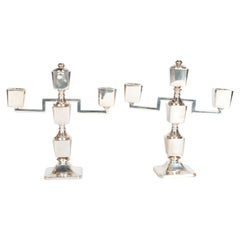 Pair of Sterling Silver Art Deco Machine Age Adjustable Candleholders