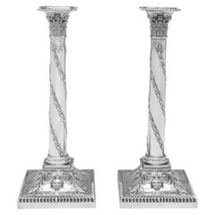 Neoclassical Revival Pair of Victorian Antique Sterling Silver Candlesticks