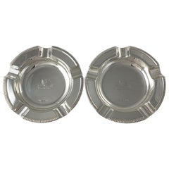 Pair of Sterling Silver Crested Ashtrays, William Hutton & Sons