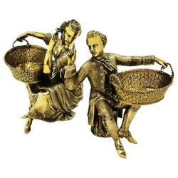 Pair of Sterling Silver Gilt Figural Salts 1978 Lady Man Basket Salt Pinch Pot