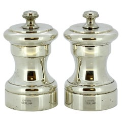 Pair of Sterling Silver Italian Salt and Pepper Grinders, Empire Sterling, 1950