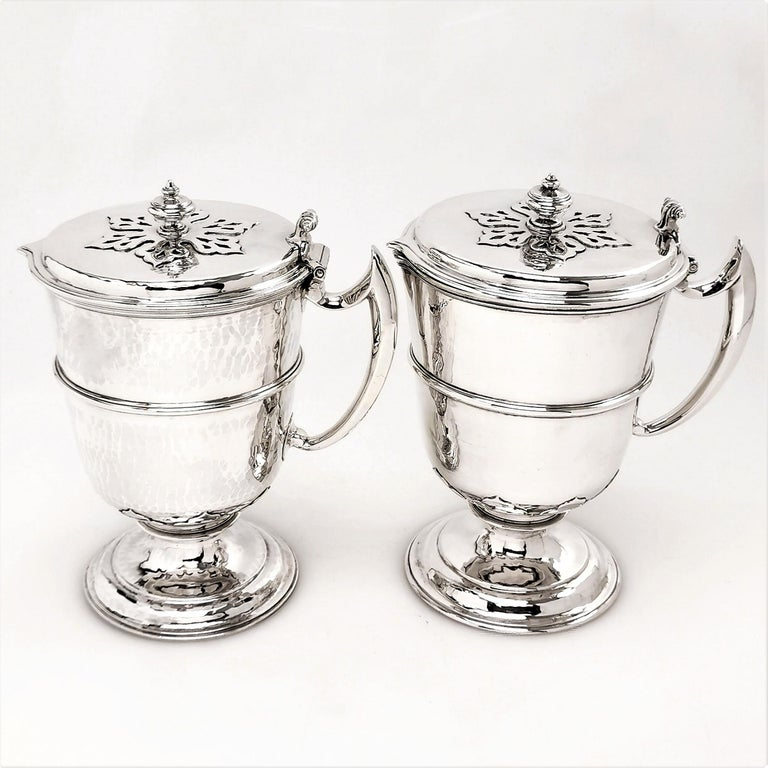 William and Mary Sterling Silver Pair Jugs / Ewers in William & Mary Livery Jug Style 1907-1908
