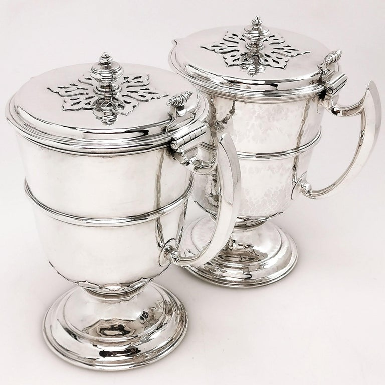 English Sterling Silver Pair Jugs / Ewers in William & Mary Livery Jug Style 1907-1908