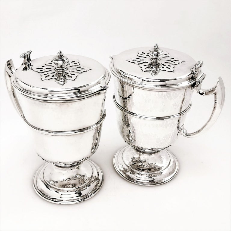 Sterling Silver Pair Jugs / Ewers in William & Mary Livery Jug Style 1907-1908 In Good Condition In London, GB