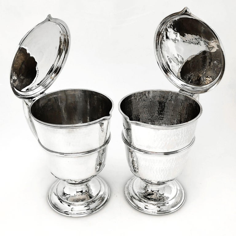 20th Century Sterling Silver Pair Jugs / Ewers in William & Mary Livery Jug Style 1907-1908