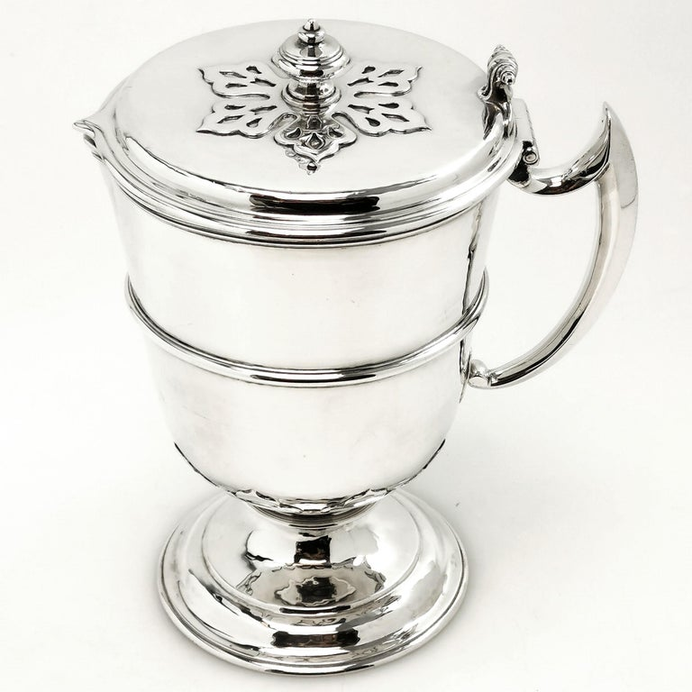 Sterling Silver Pair Jugs / Ewers in William & Mary Livery Jug Style 1907-1908 1