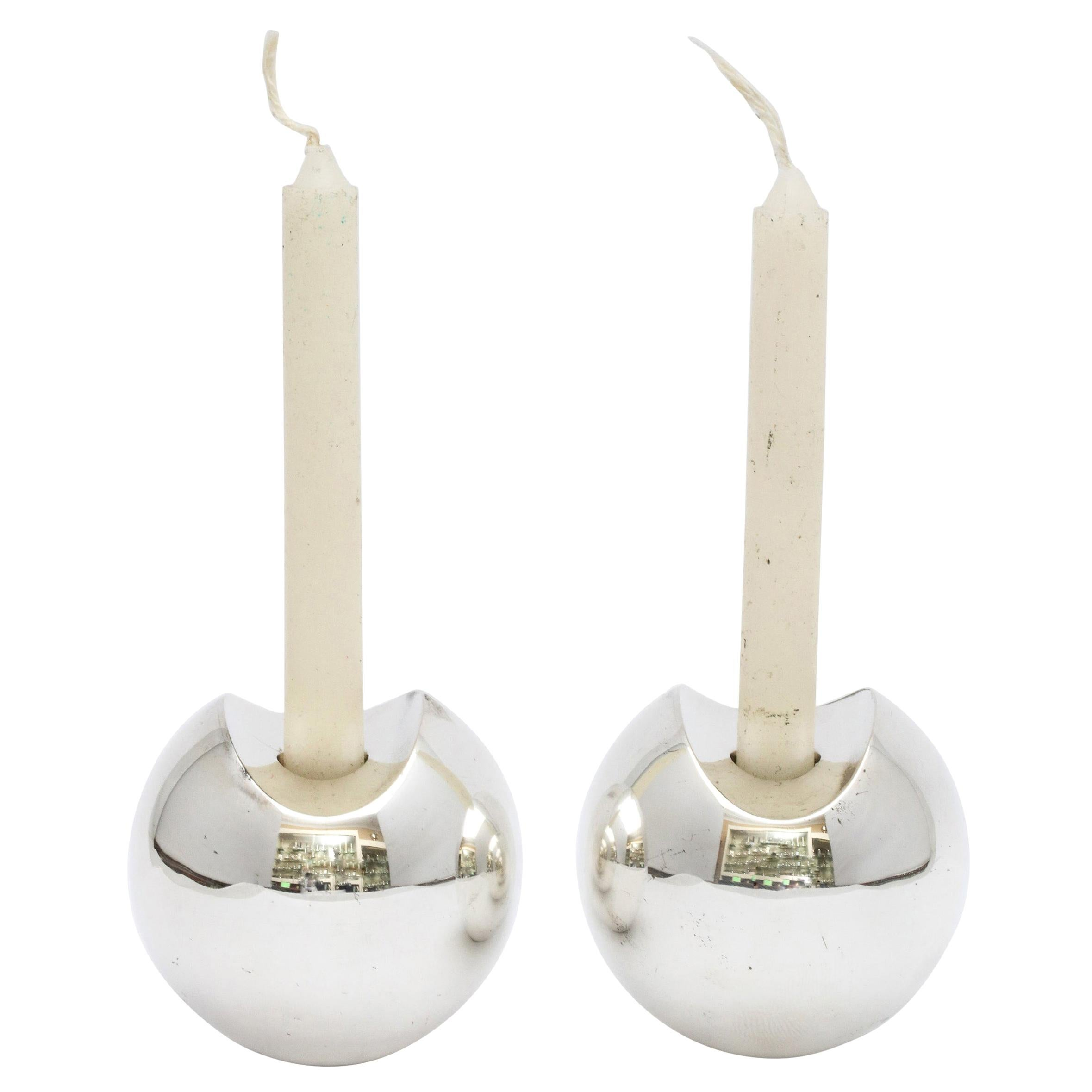 Pair of Sterling Silver Mid-Century Modern Candlesticks by Timo Sarpeneva