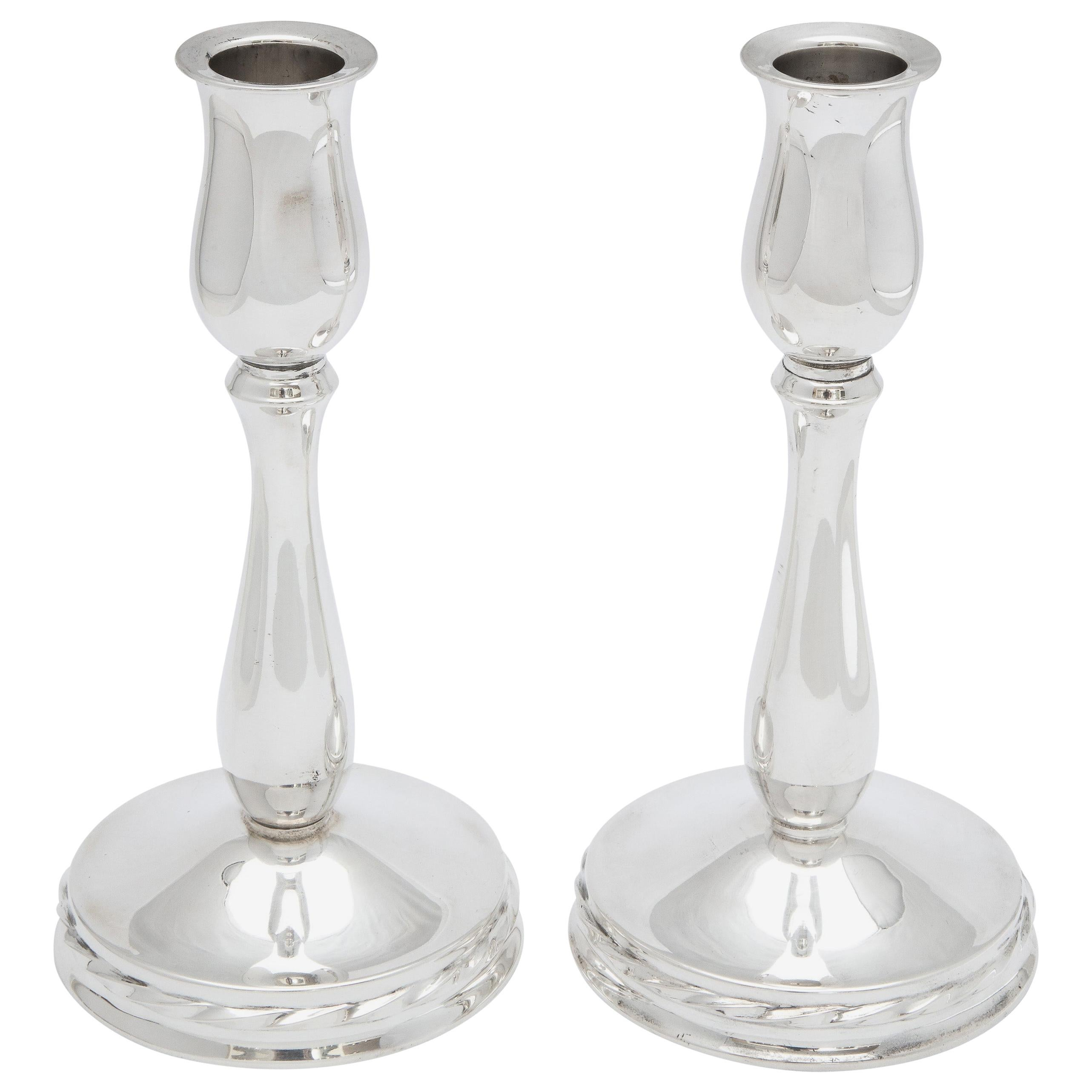 Pair of Sterling Silver Mid-Century Modern Candlesticks