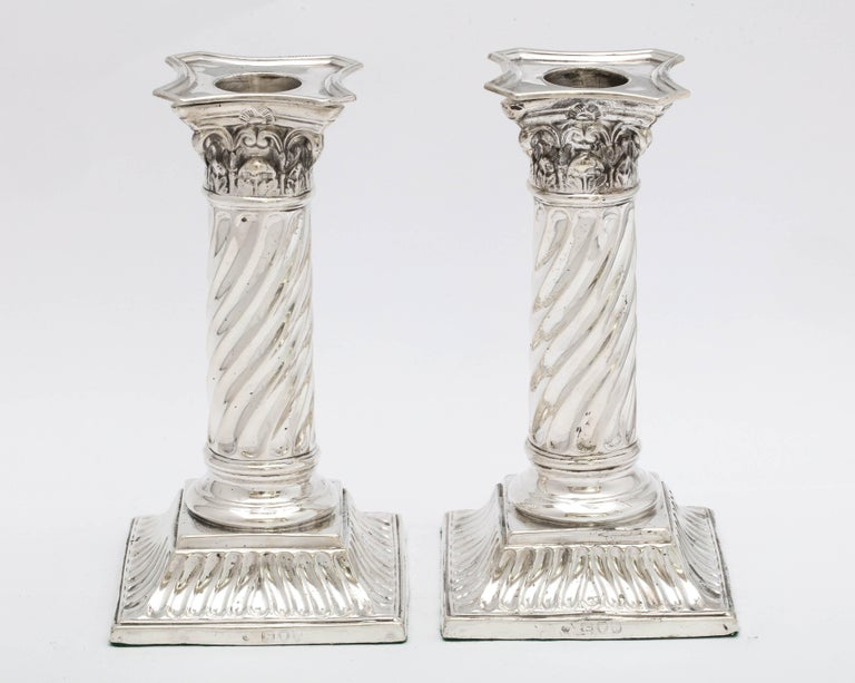 Pair of Sterling Silver Neoclassical Corinthian Column Candlesticks For Sale 9