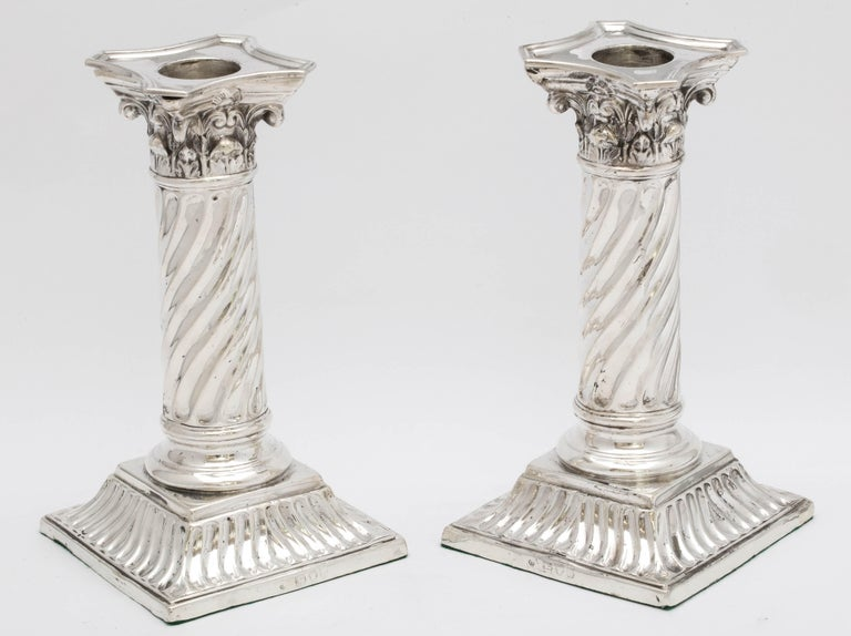 Pair of Sterling Silver Neoclassical Corinthian Column Candlesticks For Sale 11