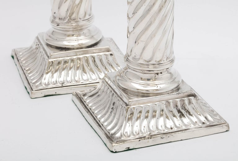 Late 19th Century Pair of Sterling Silver Neoclassical Corinthian Column Candlesticks For Sale