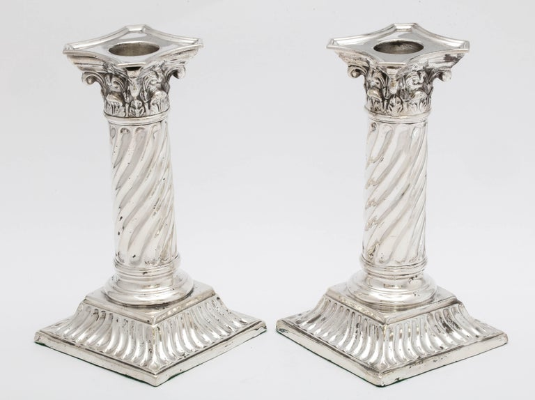 Pair of Sterling Silver Neoclassical Corinthian Column Candlesticks For Sale 1