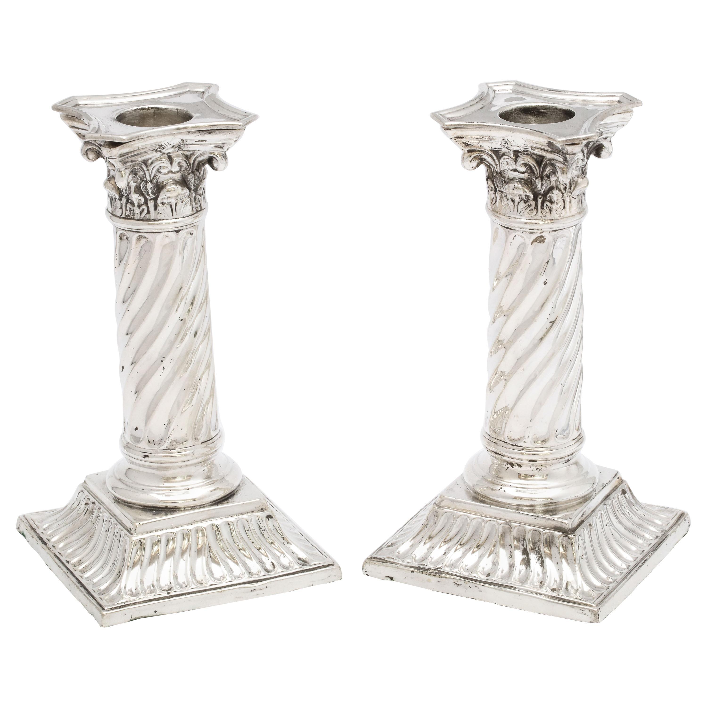 Pair of Sterling Silver Neoclassical Corinthian Column Candlesticks