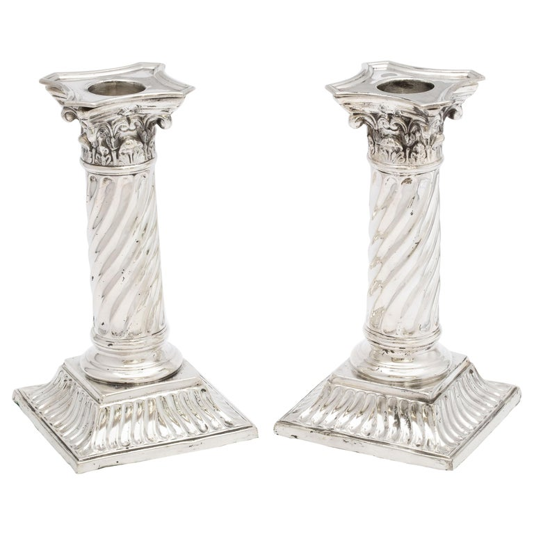 Pair of Sterling Silver Neoclassical Corinthian Column Candlesticks For Sale