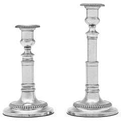 Regency Period Pair of Antique Sterling Silver Telescopic Candlesticks from 1812