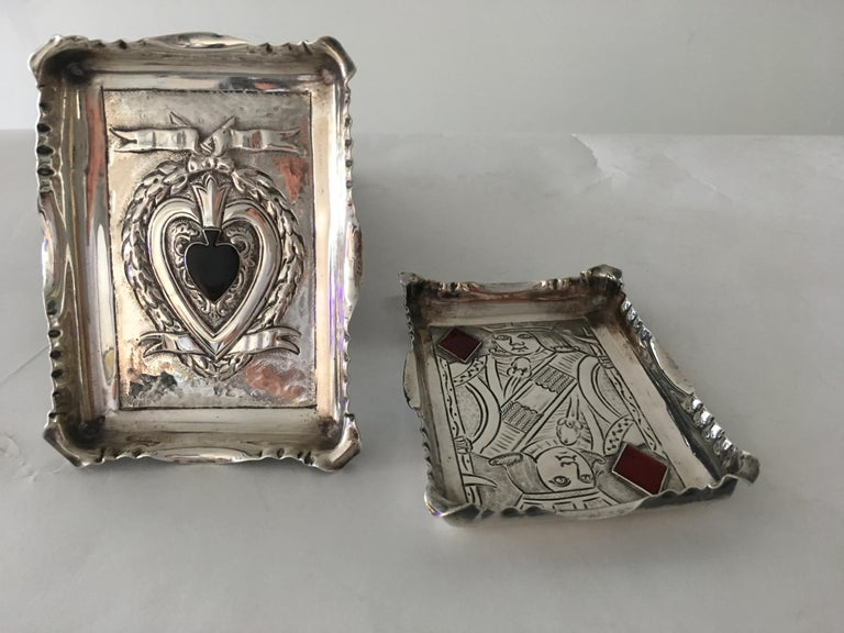 Pair of sterling silver trays with stone inlay. By Millar Wilkinson, St Michaels Alley Cornhill, England 1950s, with silver stamps on reverse side.