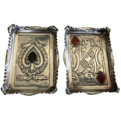 Pair of Sterling Silver Trays